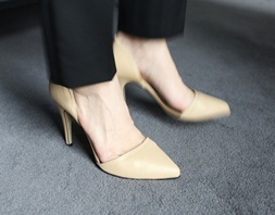 4color side open heel[수제화]  베이지 240mm / 굽9
